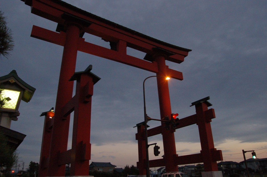 Tori Gate in Tsubame city near Mt. Yahiko. Twenty years ago it was the largest Tori Gate in Japan.