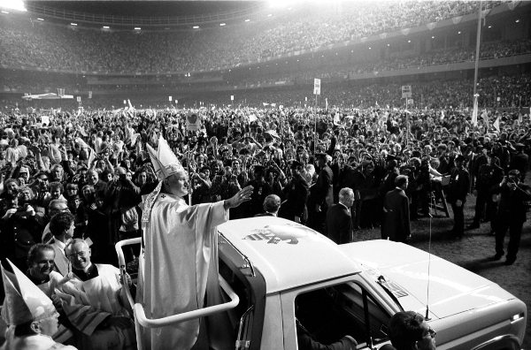 Millions cheer Pope John Paul II during his first visit to Poland as pontiff