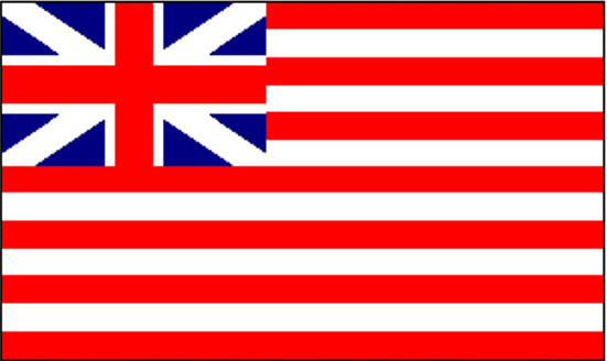 The ensign of the East India Trading Company from 1707-1801. It has 13 stripes just like the American flag