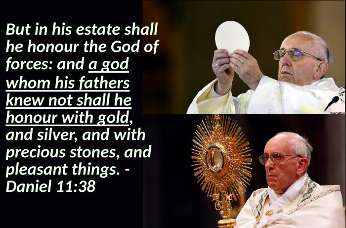 The top photo shows the Pope holding the Eucharist, and the bottom holding a golden monstrance which holds the Eucharist.